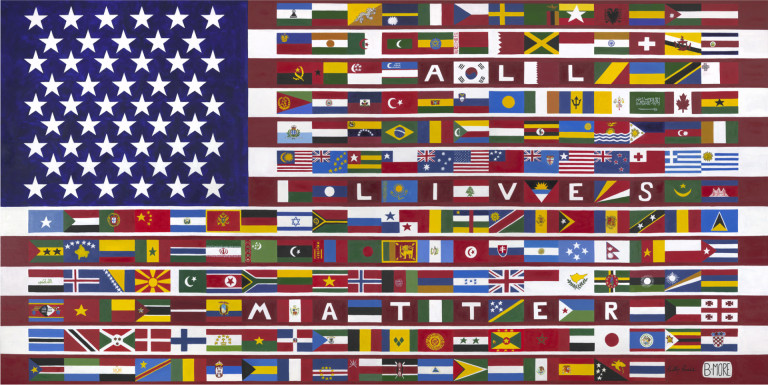 KellyBurke_All-Lives-Matter-Flag_OilOnCanvas_54x108-768x385